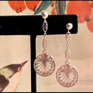 Sterling Art Deco Filigree Earrings